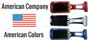 American Company, American Colors with image of a red, white Pebble HD