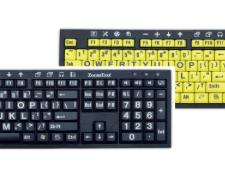 ZoomText Large-Print Keyboard - Black Print on Yellow Keys