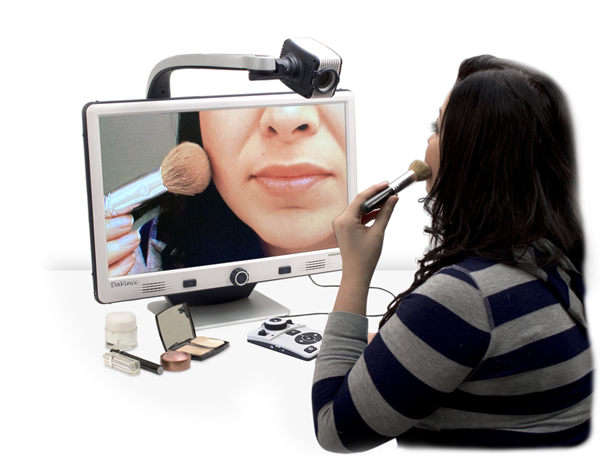 Use your Davinci low vision video magnifier for self-viewing, applying make-up, personal grooming, even medical