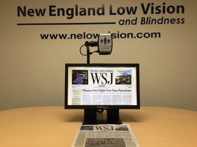 """Acrobat HD Ultra 20″, 22"""" & 24"""" LCD systems all have a remarkably wide 12.5″ viewable field. Even WSJ width of 12″ fits on screen. Why is this important? Users can see much more on screen at one time, reducing back and forth movement of magnified text, increasing reading speed, reducing fatigue, increasing personal productivity, and most of all, increasing feelings of accomplishment and satisfaction."""