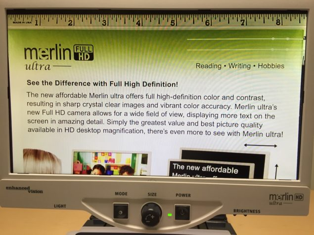 """Merlin HD Ultra - Notice it has over 8.5"""" left to right field of view - which reduces left to right movement of text under camera, increases reading speed, decreases reading fatigue, and improves overall productivity and satisfaction"""