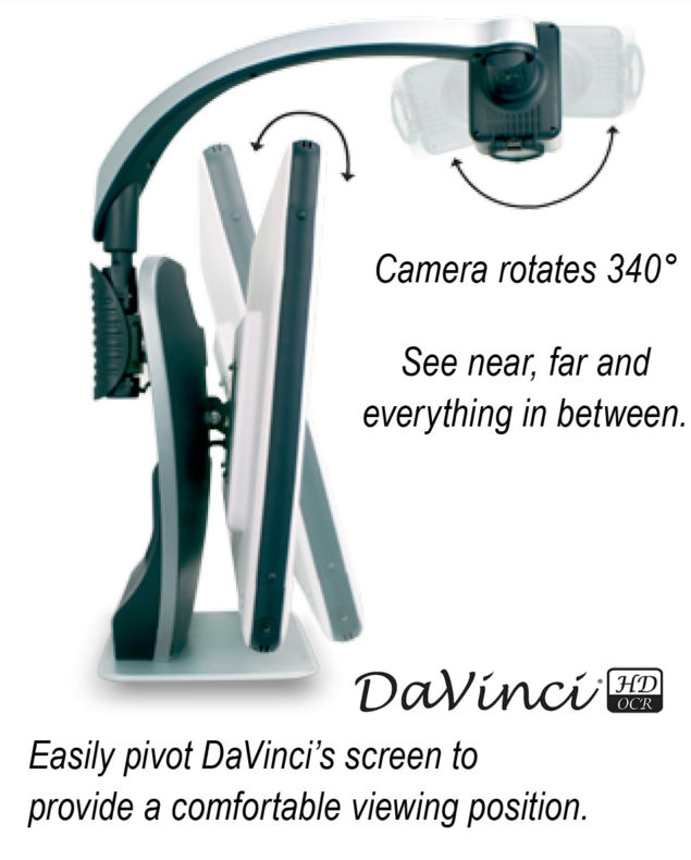 DaVinci 3-in-1 desktop video magnifiers have have camera heads that swivel to allow you to see near far and everywhere in between