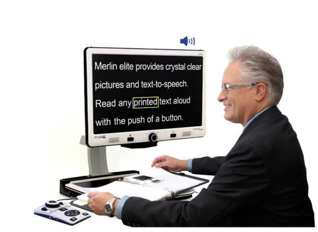 Merlin Elite - Video Magnifier provides crystal clear pictures and text-to-speech. Read any printed text out loud with the push of a button.