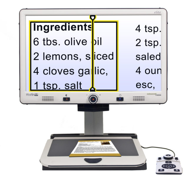 Merlin Elite Video Magnifier - Reads Out Loud. This Desktop Video Magnifier's quality, high definition camera and large viewing monitor allows people with vision loss to read, write and view photography like they used to be able to do.