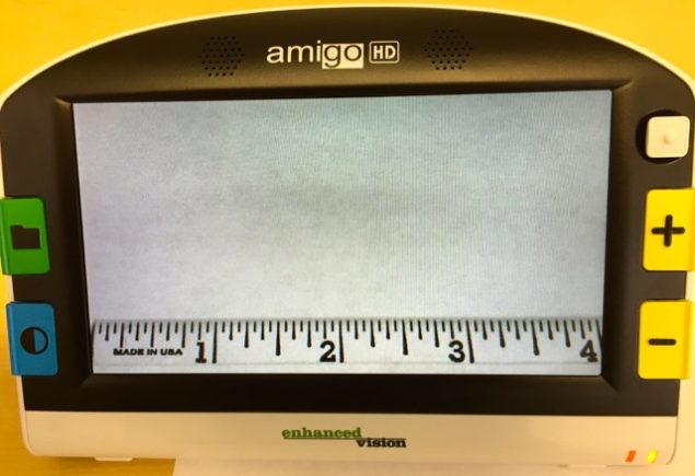 """This photo is of the *New Amigo HD, showing a ruler, at the minimum size level and widest field of view of 4"""" inches, more than double the previous model of 1.5""""."""