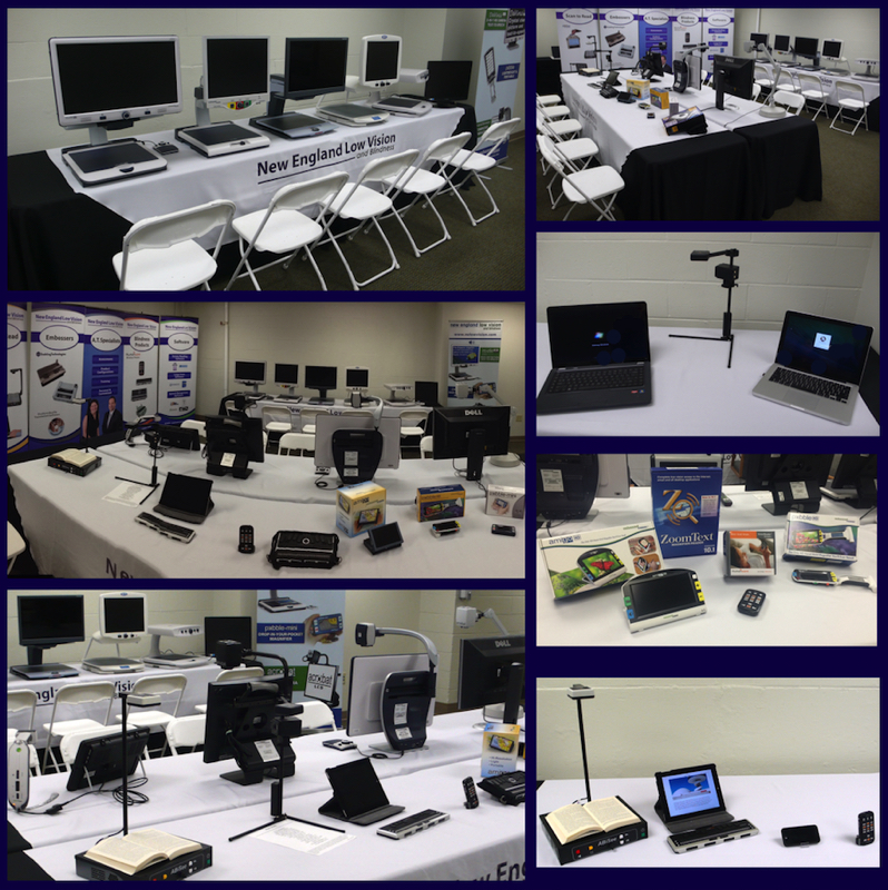 Collage of seven photos from our low vision and blindness technology showroom in Worcester, MA