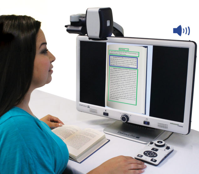 DaVinci Pro desktop video magnifier (CCTV) with full Page Text-to-Speech (OCR) reads out loud all of your favorite books, articles, newspapers, magazines, cookbooks, newsletters and much more