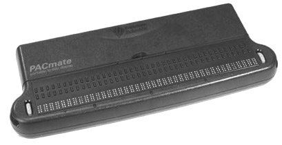 Upgrade your PAC Mate with this affordable braille display or use it with any desktop PC or laptop with a USB port. Features 40 seamless refreshable cells of braille, three-way WHIZWHEELS® for rapid navigation, dual purpose cursor routing buttons, built-in VariBraille, and programmable hot keys.