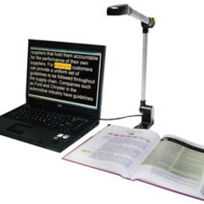 The PEARL, combined with OpenBook scanning and reading software, brings blind and low vision users instant portable access to printed material with an array of human-sounding voices. The folding camera deploys in seconds to connect to your PC and snap a picture of your reading material and begins reading it aloud instantly.