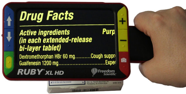 This portable, handheld video magnifier has a 5-megapixel, auto-focus camera providing sharp HD quality images that are easily viewed on its full color, 5-inch LCD screen. The screen tilts up for easy reading on the page with continuous zoom from 2x to 14x. There is a convenient flip-out handle for spot viewing.