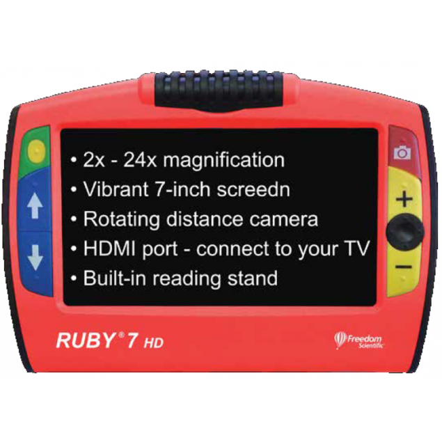 Ruby 7 HD with text on the screen