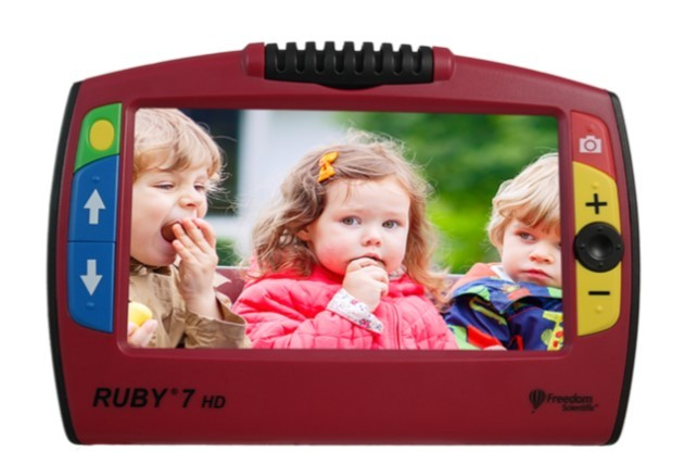 Ruby 7 HD with pictures of 3 children on screen