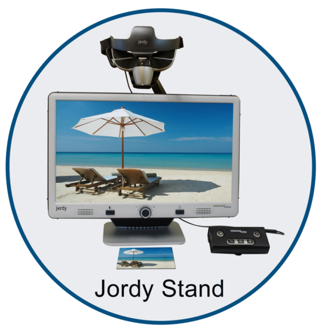 Jordy Docking Stand in a circle with scene of the beach