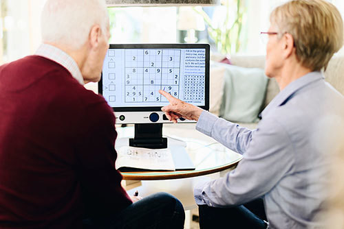 MagniLink One - Man and Woman playing a game with puzzle magnified on the screen
