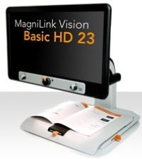 MagniLink Vision Basic with Basic HD 23 on Screen and book on table