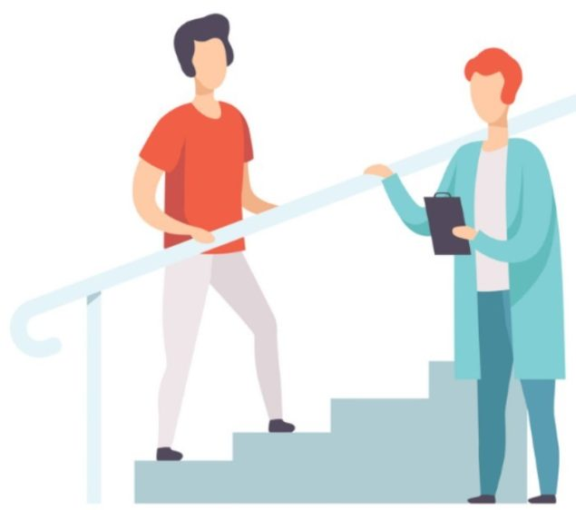 Illustration of person walking upstairs with Occupational Therapist - used to depict our Occupational Therapist content for our eBook