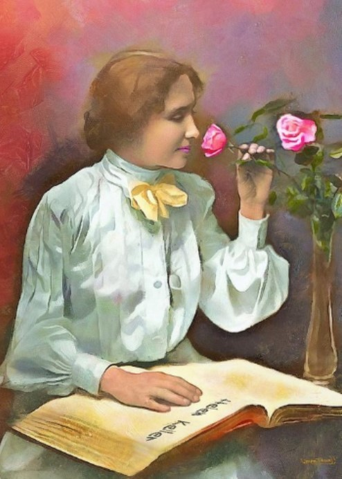 Illustration of Helen Keller smelling a rose - used to depict our Positive Attitude content for our eBook