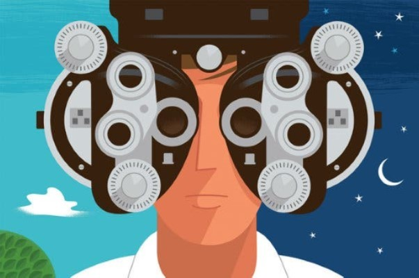 Illustration of person looking through vision testing equipment - used to depict our Low Vision Optometrist content for our eBook