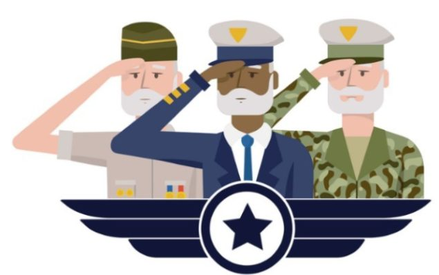 Illustration of three Veterans saluting - used to depict our Veteran content for our eBook