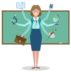Illustration of teacher with 6 arms in front of a chalkboard - used to depict our Teacher of the Visually Impaired content for our eBook