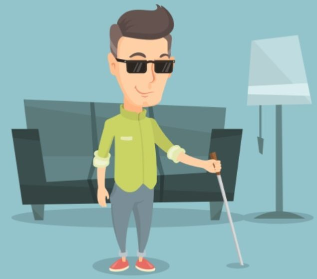 Illustration of blind person in living room holding a white cane - used to depict our Certified Orientation and Mobility Specialist content for our eBook