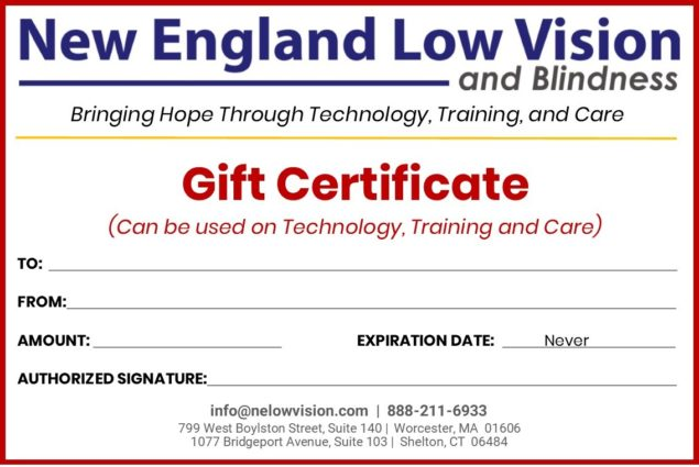 New England Low Vision and Blindness $100 Gift Certificate