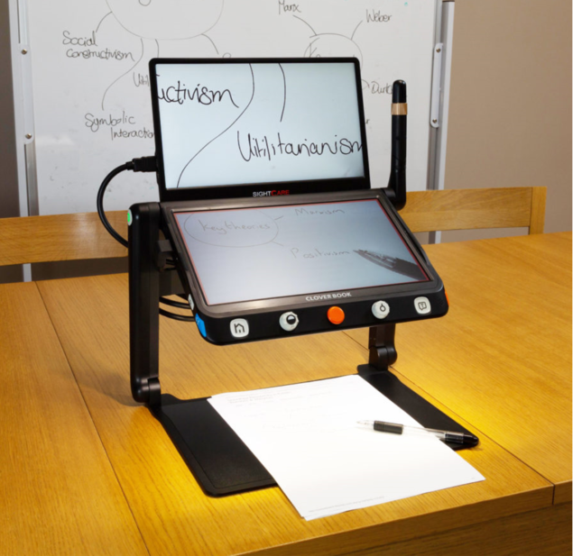 CloverBook Pro External Screen - Paper and pen on tray
