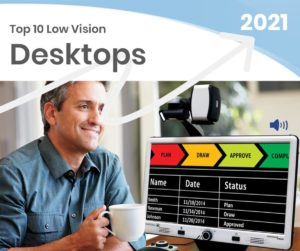 Top 10 Low Vision Desktops person drinking coffee in front of a DaVinci Pro