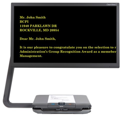 ClearView C Full HD Speech - black screen with yellow text